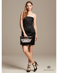 Banana Republic Monogram Strapless Shine Dress Black - Lyst