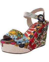Dolce & Gabbana Printed Brocade Wedge Sandal - Lyst