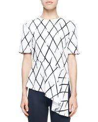 Balenciaga Printed Asymmetric-Hem Top - Lyst