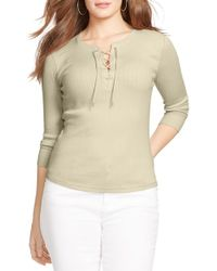 Lauren by Ralph Lauren - Lace-up Rib Knit Tee - Lyst