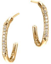 John Hardy Bamboo 18K Gold & Diamond Extra-Small Hoop Earrings - Lyst