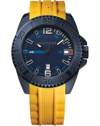 Tommy Hilfiger Mens Yellow Silicone Strap Watch 46mm - Lyst