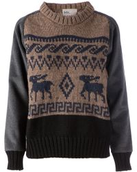Kolor Contrasting Sleeves Intarsia Sweater - Lyst