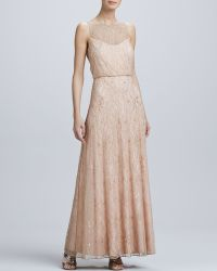 Aidan Mattox Illusion Neck Aline Gown - Lyst