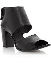 Dune Black Linette Leather Stacked Heel Sandals - Lyst