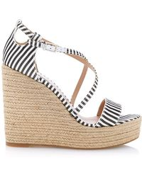 Tabitha Simmons Jenny Striped-Silk Espadrille Wedge Sandals - Lyst