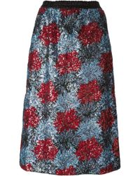 No 21 Sequins Embroidered Flower Pattern Skirt - Lyst