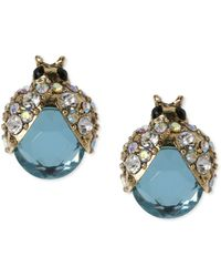 Betsey Johnson Goldtone Blue Glass Crystal Bug Stud Earrings - Lyst