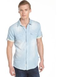 Fresh Light Blue Short Sleeve Stretch Cotton Denim Shirt - Lyst