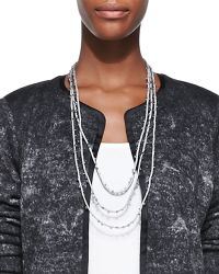 Eileen Fisher Beaded Silk Cord Necklace - Lyst
