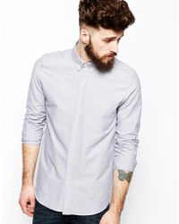 Asos Oxford Shirt in Gray with Long Sleeves - Lyst