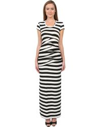 Nicole Miller Striped Tuck Slit Maxi Dress - Lyst