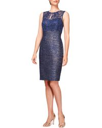 Kay Unger Dress  Lace  Tweed - Lyst