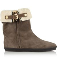 Burberry - Shearling-Lined Suede Ankle Boots - Lyst