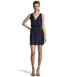 Aryn K. Indigo Silk And Sequin Striped Surplice V-Neck Slip-On Dress - Lyst
