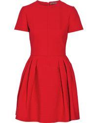 Alexander McQueen Pleated Cotton, Wool And Silk-Blend Cloqué Mini Dress - Lyst