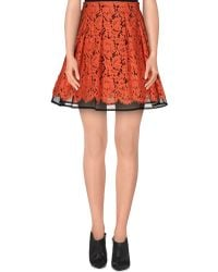 MSGM Knee Length Skirt orange - Lyst