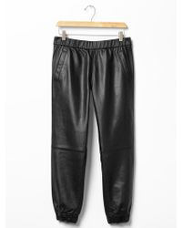 Gap Leather Jogger Pants - Lyst