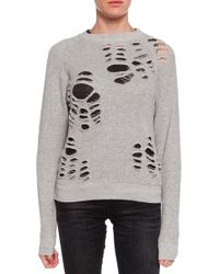 R13 Shredded Side Zip Sweatshirt - Lyst