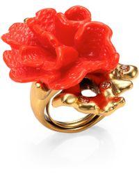 Oscar de la Renta Coral Flower Cocktail Ring - Lyst