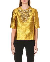 Issa Embellished Metallicjacquard Top Gold - Lyst