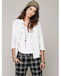 Free People Debut Denim Buttondown - Lyst