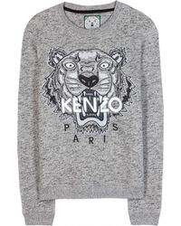 Kenzo Embroidered Cotton Sweatshirt - Lyst