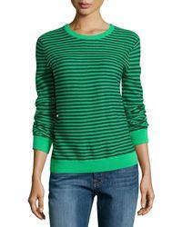 Halston Heritage Gauge Knit Mini-stripe Sweater - Lyst