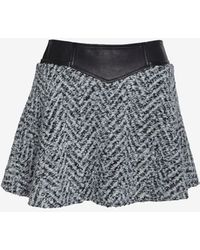 Thakoon Addition - Leather Waist Tweed Flare Skirt - Lyst
