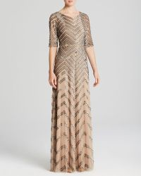 Adrianna Papell Elbow Sleeve Chevron Sequin Illusion Gown Bloomingdales Exclusive - Lyst