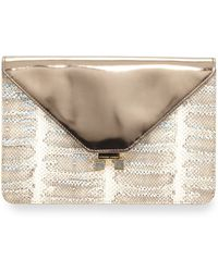 Etienne Aigner - Forester Snake-Embossed Leather Metallic Envelope Clutch - Lyst