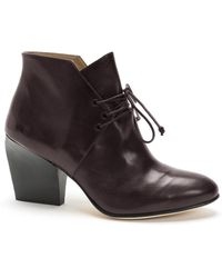 Atalanta Weller Burgundy Leather Tie Up Ankle Boot By - Lyst