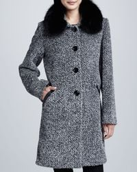 Sofia Cashmere Tweed Button-Front Fur Collar Coat - Lyst
