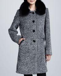 Sofia Cashmere Tweed Button-Front Fur Collar Coat black - Lyst