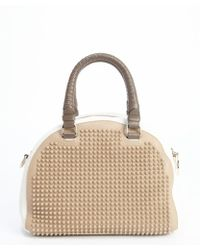 Christian Louboutin Beige and White Leather Studded Panettone Convertible Small Bag - Lyst