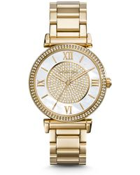 Michael Kors Catlin Pavé-Embellished Gold-tone Stainless Steel Watch - Lyst
