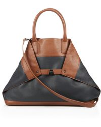Akris Ai Medium Two-Tone Leather Convertible Tote - Lyst