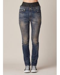 R13 | blue Vintage Painted Blue Leather Boxer Slouch Jean | Lyst
