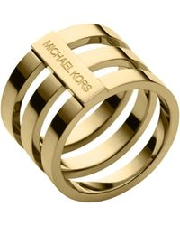Michael Kors Gold-tone Tri-stack Ring - Lyst