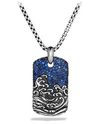 David Yurman Waves Tag with Sapphires On Chain - Lyst