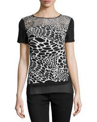 Diane Von Furstenberg Becky Animal-print Silk Top - Lyst