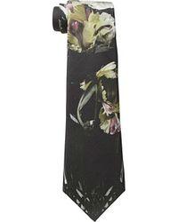 Alexander McQueen Black Floral Tie - Lyst