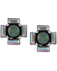 Vince Camuto - Silver-tone Black Imitation Pearl And Baguette Stud Earrings - Lyst