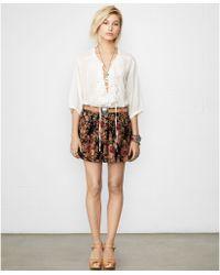 Denim & Supply Ralph Lauren Sheer Ruffled Lace-Up Top - Lyst