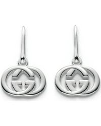 Gucci Gg 18ct White-gold Drop Earrings - Lyst