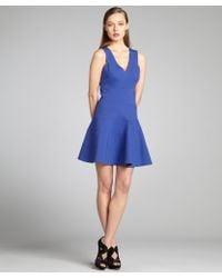 Robert Rodriguez Cobalt Jersey Sleeveless Banded Aline Scuba Dress - Lyst