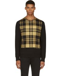 Alexander McQueen Black and Gold Check Sweatshirt - Lyst