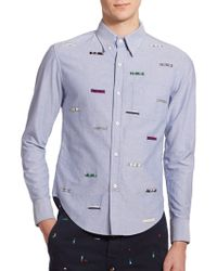 Band of Outsiders Embroidered Cotton Sportshirt - Lyst