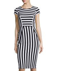 Muse - Striped Cap-sleeve Sheath Dress - Lyst
