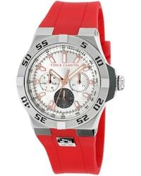Vince Camuto - Men'S Red Silicone Strap Watch 43Mm Vc-1010Rdsv - Lyst